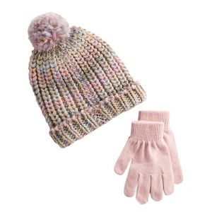 SO -  Space-Dyed Pom Beanie & Gloves Set (NWT)